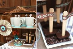 chocolate cubes on a stick -rest on chocolate chips or coconut instead of coffee beans