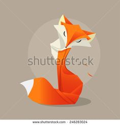 Fox. Orange Fox in the style of origami. Fox can use logo or icon. Vector Origami Fox. Paper fox.