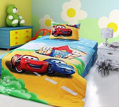 CASA Children 100 Cotton Lightning McQueen and Sally Carrera Duvet cover  Pillow cases  Flat sheet3 PiecesTwin ExtraLong >>> Continue to the product at the image link.