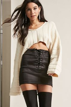 Product Name:Cropped Sweater-Knit Top, Category:sweater, Price:48