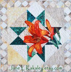 Tiger Lily Applique Quilt by Jane L Kakaley, $10.00  Art Quilt  PDF Pattern  www.etsy.com/shop/JaneLKakaley