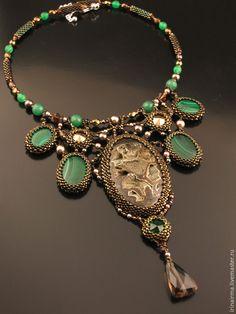 """Купить """"Lady Malachite"""" колье РЕЗЕРВ! - зеленый, коричневый, колье, колье с камнями, украшение, малахит"""