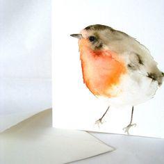 Little Orange and Blue Bird Original by dearpumpernickel on Etsy