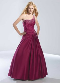 Ball gown one shoulder neck pretty taffeta with zipper back home coming dress
