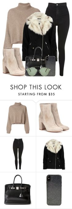"""beige."" by inlovewith4idiots ❤ liked on Polyvore featuring Rejina Pyo, Gianvito Rossi, Topshop, River Island, Hermès, Candywirez and Christian Dior"