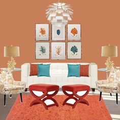 Coral and Turquoise, uses paint color Sherwin williams, chrysanthemum