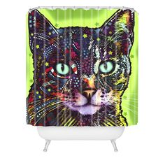 Dean Russo Watchful Cat Shower Curtain | DENY Designs Home Accessories