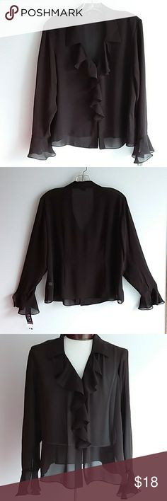 45a82f007a Chaps RL Brown Sheer Ruffle Front Top Dark brown sheer top with ruffle  front and sleeves