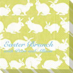 Green Rabbit Easter Brunch Caspari Napkins