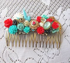 Wedding Hair Comb Aqua Turquoise Red Cyan Teal White Bridesmaids Bridal Hair Comb Hair Jewelry Accessories Venetian Boudoir-if we found a good comb I could decorate it for you Hair Comb Wedding, Red Wedding, Bridal Hair, Wedding Ideas, Blue Bridal, White Bridal, Turquoise Hair, Red And Teal, Bridesmaid Hair
