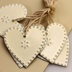 White Punched Metal Heart Decorations