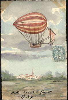 The Sailing Balloon Yves Guyot created the first sailing balloon with oars. Decoupage, Balloon Illustration, Large Balloons, Scrapbook, Retro Futurism, Mail Art, Dieselpunk, Hot Air Balloon, Art Prints
