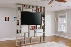 Custom Made Lexington Room Divider / Bookshelf / Tv Stand for middle of the room TV placement