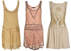"I like the idea of an Art Deco wedding, though it's ""themey"" -- these would be perfect. #dresses #flapper #deco #wedding"