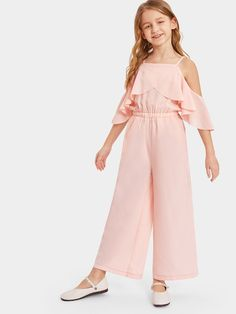 ad Girls Overlap Flounce Cold-Shoulder Solid Jumpsuit Price 23 00 Pink Casual Plain Culottes Zipper Fabric has some stretch Summer Girls Jumpsuitad… – Sweater Teenage Girl Outfits, Dresses Kids Girl, Cute Girl Outfits, Kids Outfits Girls, Cute Outfits For Kids, Cute Casual Outfits, Dresses For Tweens, Preteen Fashion, Girls Fashion Clothes