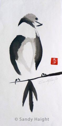 Oiseau-sur-un-perchoir-sumi-