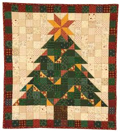 A lovely wall quilt that is quick and easy to piece (only squares and triangles in this one!) brings some holiday cheer to any room. #ChristmasInJuly http://landauerpub.com/2-Piece-Patchwork.html