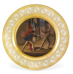 Twenty-four Berlin (K.P.M.) porcelain plates painted with scenes from Goethe's Faust, circa 1821