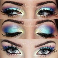 Oh my god! I love it! The transition from colour to colour and the fake lashes!!
