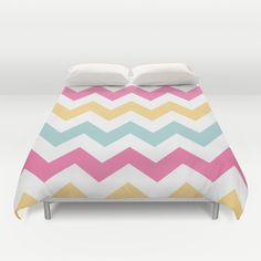 Pretty #Spring #Pastel #Chevron Pattern #Duvet #Cover #Bedding #Bedroom #Decor By #KCavenderDesigns