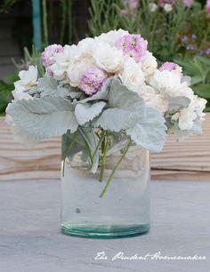 Iceberg roses dusty miller pink stock arrangement The Prudent Homemaker  flower arrangements