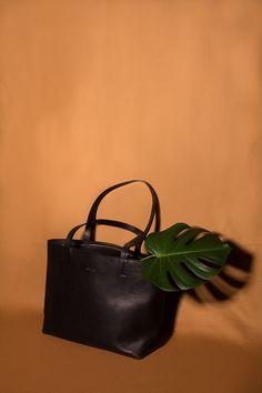 Black Vegetable-tanned Leather Work Bag