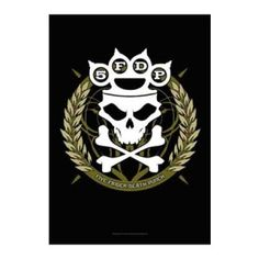 Five Finger Death Punch Tour Dates Fabric Poster - Rock out with this Five Finger Death Punch Tour Dates Fabric Poster! This product is a textile poster which features the FFDP Brass Knuckles Crown logo, skull and crossbones in a wreath. This poster measures 30 x 40.
