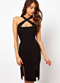Cross Strap Black Sheath Harness Dress for Woman | martofchina.com
