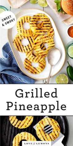 This easy grilled pineapple recipe is the BEST summer side dish! Brushed with honey and lime juice, it's juicy, sweet, and perfectly charred. Grilled Pineapple Recipe, Grilled Fruit, Pineapple Recipes, Grilled Veggies, Lemon Recipes, Healthy Vegetable Recipes, Vegetarian Breakfast Recipes, Vegan Dinner Recipes, Healthy Food