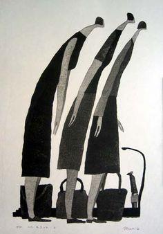 [Art Work / Japanese Prints] Aoki,Tetsuo [ Three persons gather 2 ] ed.30, 2004, image size:41(cm)x27(cm), woodblock