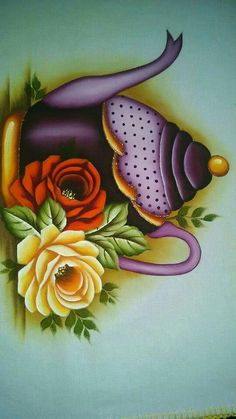 Simplemente hermoso!! Tole Painting, Fabric Painting, Tee Kunst, Tea Art, Painting Patterns, Decoupage, Quilling, Painted Rocks, Flower Art
