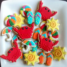 Summer fun mini sugar cookies or large 3.5 by SweetArtSugarCookies