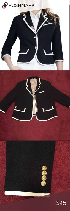 Thom Browne Blazer Classy blazer! Size XL, but fits more like a large-extra large. I originally paid $130 when I bought it, but I have too many blazers. The only flaw is shown in the last photo, but it can't be seen when worn and in no way affects the west or look of the jacket. Open to offers and negotiating! J. Crew Jackets & Coats Blazers