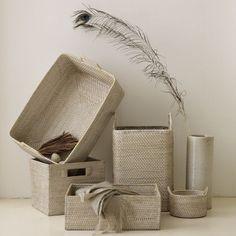 white washed rattan storage baskets - west elm