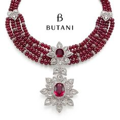 Butani Jewellery. Contemporary medallion style necklace decorated with intense red rubies radiates a touch of old world glamour.