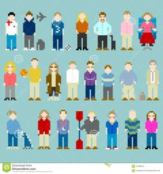 pixel art people | bit Pixel-art People From A Web Design Agency Office Stock Vector ...