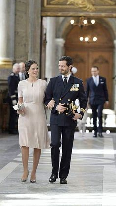 Swedisch Royal Family arriving to the Royal Chapel. Prince Carl Philip and Princess Sofia.  30-4-2016