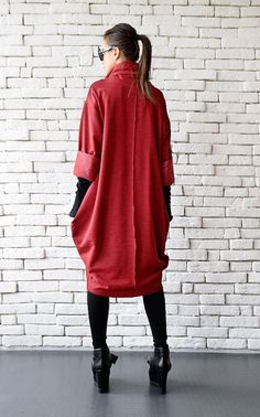 Red Loose Tunic/Oversize Red Dress/Red Maxi от Metamorphoza