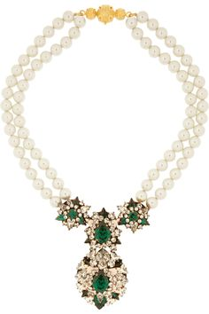 SHOUROUK Swan gold-plated, Swarovski crystal and faux pearl necklace
