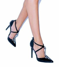 c9fa63804c7 New Black silver snake pointy toe pumps Heels Size 8