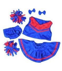 "Royal Blue and Red Cheerleader Teddy Bear Clothes Outfit Fits Most 14"" - 18"" Build-a-bear, Vermont Teddy Bears, and Make Your Own Stuffed Animals"