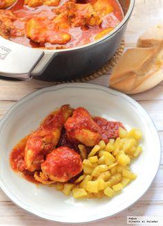 Pollo con tomate y cerveza Mexican Food Recipes, Real Food Recipes, Chicken Recipes, Yummy Food, Healthy Recipes, Ethnic Recipes, Healthy Food, Spanish Cuisine, Spanish Dishes