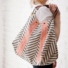 Rosanna Ikat Coral and Grey Handbag $40