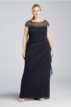 Cap Sleeve Plus Size Long Dress with Beading - Davids Bridal