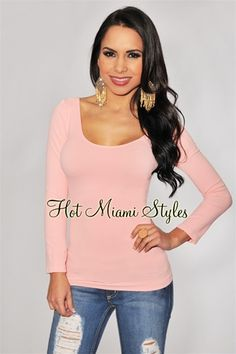 Rose Pink Seamless Perfect Fit Three Quarter Sleeves Top
