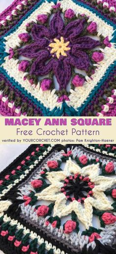 "Macey Ann Square for Afghan Pillow Tote Free Crochet Pattern This beautiful pattern is designed in two sizes - small (6-3/4"" x 6-3/4"") and large (10"" x 10""). You can use the small size for a blanket or the large square as a center piece for a blanket, a pillow or tote. #freecrochetpatterns #crochetsquare #totebag #pillow"