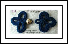 Ravelry: Frog closure buttons pattern by Emi Harrington Crochet Buttons, Crochet Appliques, Crochet Frog, Crochet Crafts, Crochet Tutorials, Crochet Accessories, Ravelry, Needlework, Embellishments