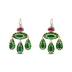Solange Azagury-Partridge GEORGIAN EARRINGS COLLECTION Stoned DESCRIPTION Girandole earrings in emerald green plique-à-jour set with oval cabochon Rubies in 18ct yell...