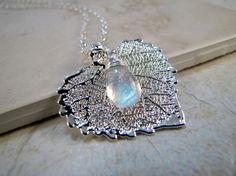 Silver plated cottonwood leaf and moonstone necklace