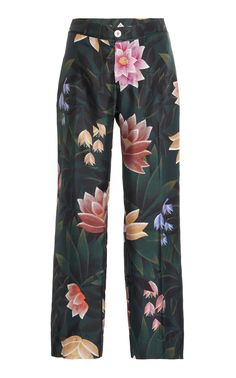 This **For Restless Sleepers** Ceo Cropped Pant features a mid rise with a loose, pajama style fit. For Restless Sleepers, Green Silk, Cropped Trousers, Workout Pants, Short Skirts, Floral Prints, Fitness, Lace, Loose Pants